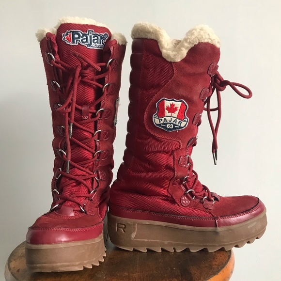 Pajar Red Winter Snow Boot Lace Zip Up